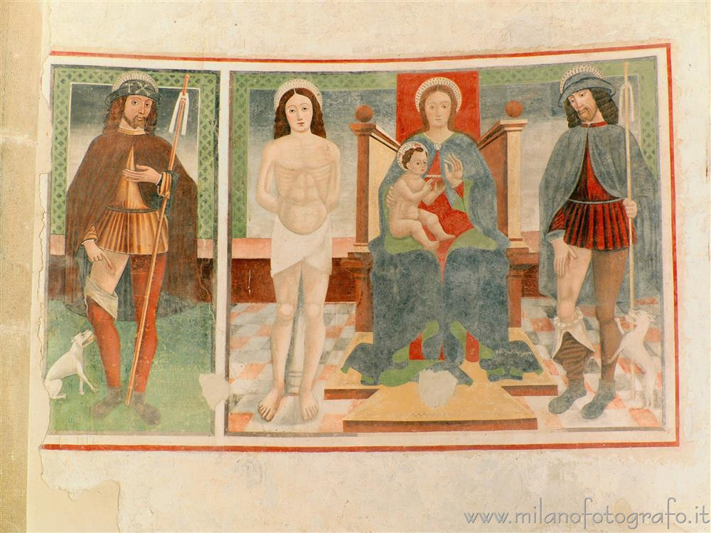 Oggiono (Lecco, Italy) - Saints Rocco and Sebastiano and Madonna enthroned in the Baptistery of San Giovanni